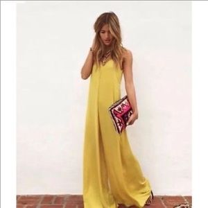 Zara yellow wide leg spaghetti strap jumpsuit